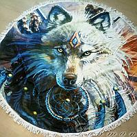 Пляжное круглое покрывало Волк из хлопка
