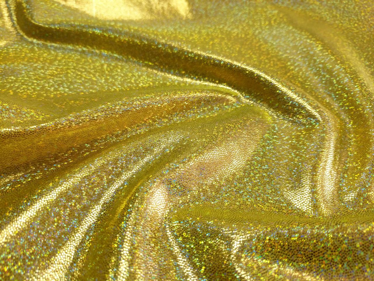 Трикотаж масло нарядное голограмма мелкая, золото