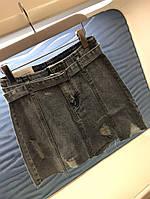 Женская джинсовая юбка с розовым карманом, фото 1