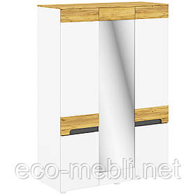 Шафа розпашна K 3Д з дзеркалом в спальню Onyx Німфея Альба / Дуб Крафт Золотий