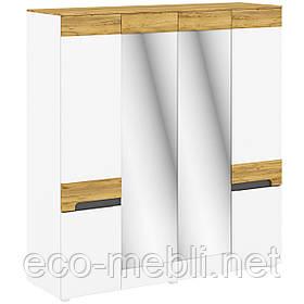 Шафа розпашна L 4Д з дзеркалом в спальню Onyx Німфея Альба / Дуб Крафт Золотий Blonski