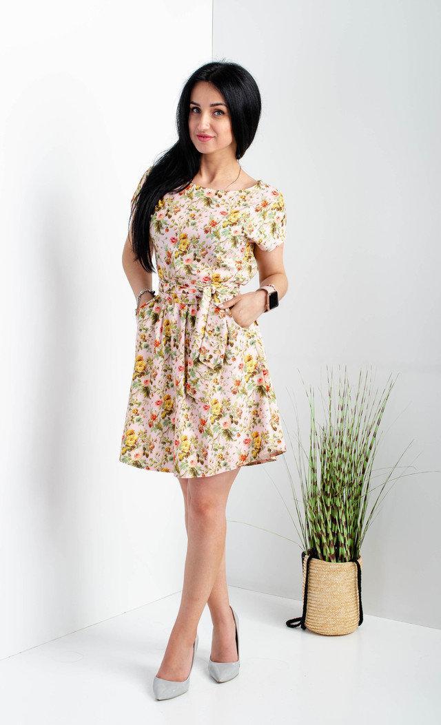 Коротке плаття в дрібну квіточку розмір 44-46,48-50