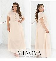 Летнее длинное платье из батиста цвет молочный ТМ Minova Размеры: 52,54,56,58,60