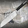 Прочный, надежный нож Rondell RD 687 Cascara Santoku кухонный. Материал рукояти - бакелит