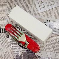 Мультиинструмент походный №002: ложка + вилка + нож + открывалка + штопор + шило. Высокое качество, фото 1