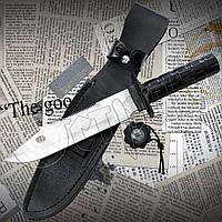 Нож для выживания НК5699 из нержавейки. Массивный прочный клинок. Удобная рукоять. На обухе клинка пила, фото 1
