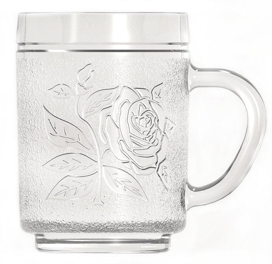 Стеклянная чашка 260 мл для чая, горячих напитков UniGlass Roses