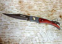 Карманный складной нож №149-3 со встроенной открывалкой. Рукоять под дерево. Лезвие фиксируется, фото 1