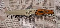 Нож складной №205 ср с тканевым чехлом. Лезвие с фиксатором. Рукоять под дерево. Отличное качество, фото 1