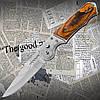 Классический складной карманный нож №310 с тканевым чехлом. Лезвие с фиксатором. Удобна рукоять
