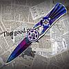 Туристичний складаний ніж-спиннер Тотем (Totem) СМ76, оригінальна форма клинка. Двосічний