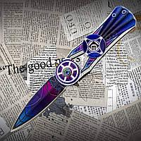 Туристичний складаний ніж-спиннер Тотем (Totem) СМ76, оригінальна форма клинка. Двосічний, фото 1