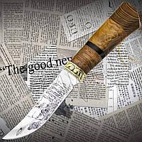 """Нож охотничий FB 1020 """"Охотник"""" нескладной с наборной рукоятью из древесины. Клинок с гравировкой, фото 1"""