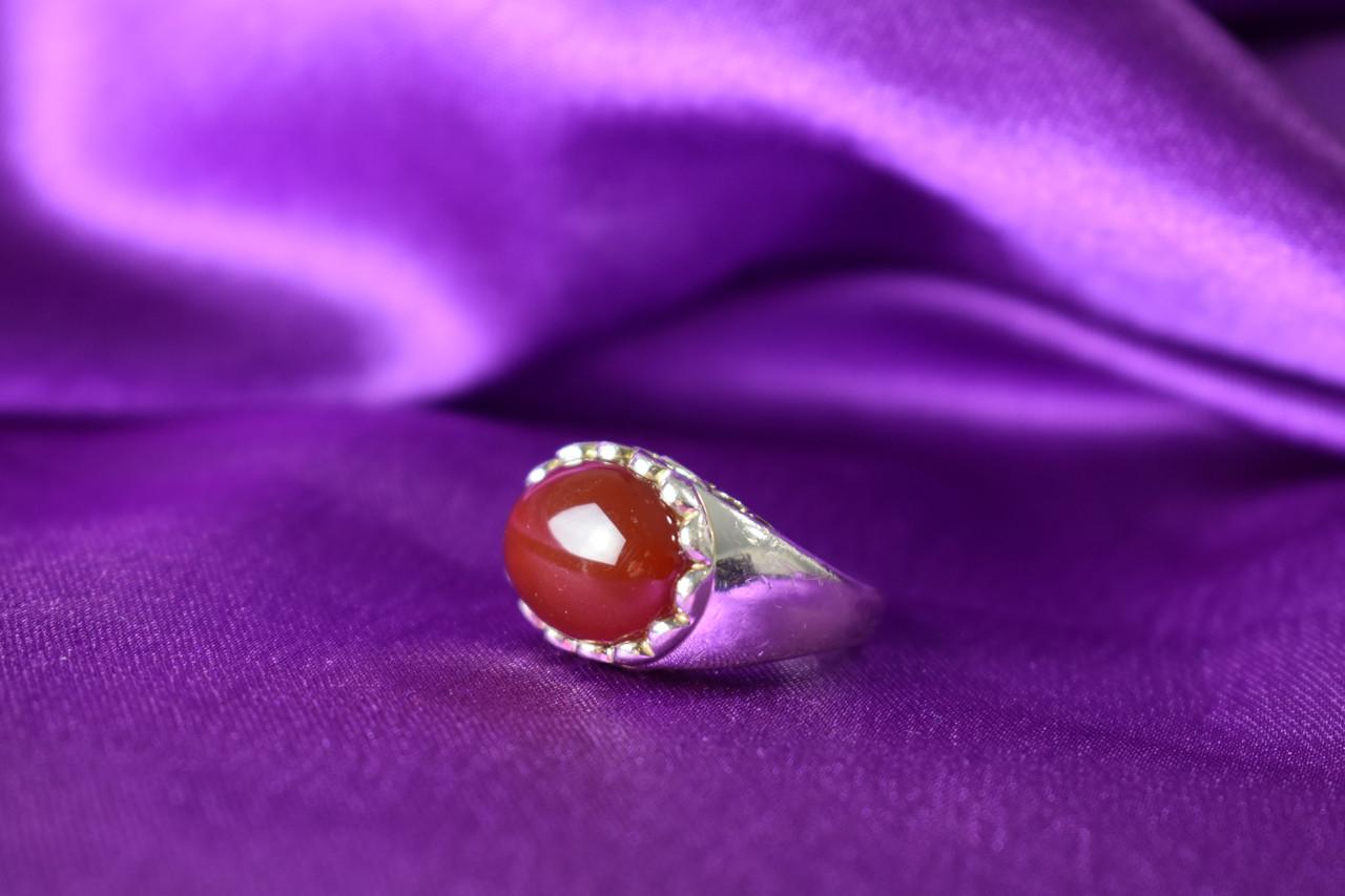 Серебряное кольцо 925 пробы с камнем Карнеол (Карнелиан)