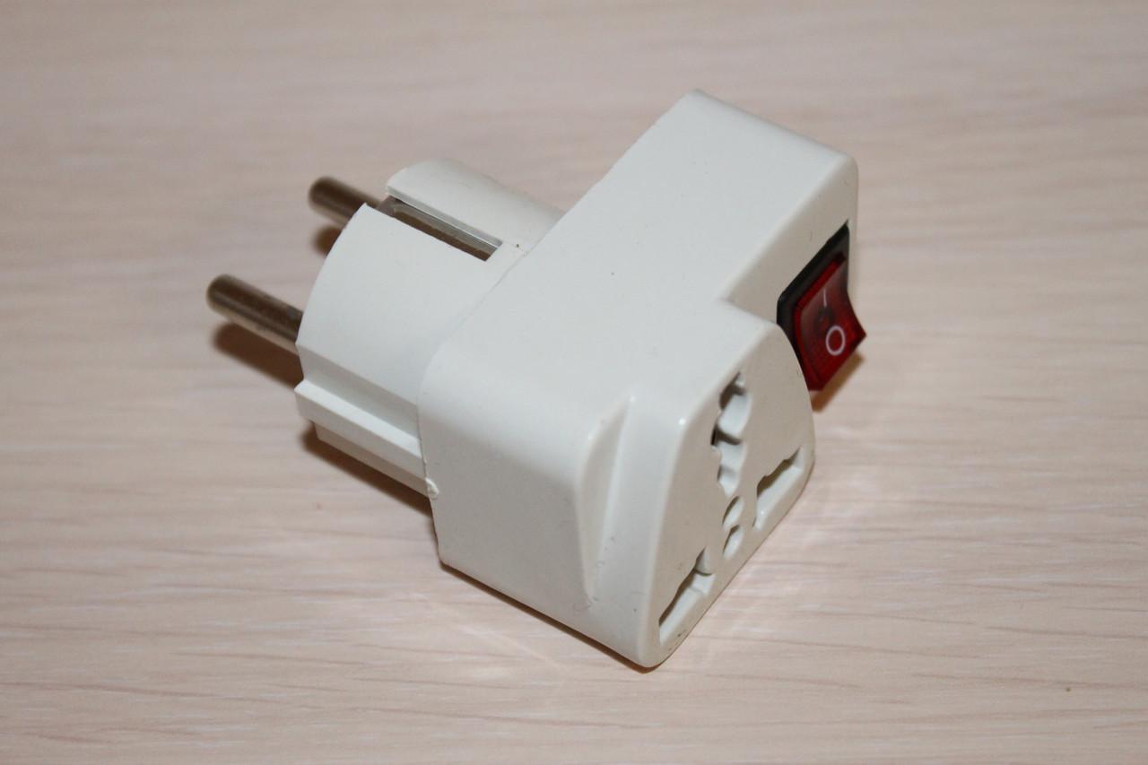 Переходник электрический для Эвророзеток с кнопокой