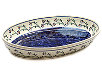 Большое овальное керамическое блюдо сервировочное 37 х 23 Cobalt shine, фото 1