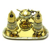 Набор солонка перечница, горчичница из бронзы с перламутром
