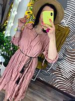 Пудровое летнее женское платье с рукавами