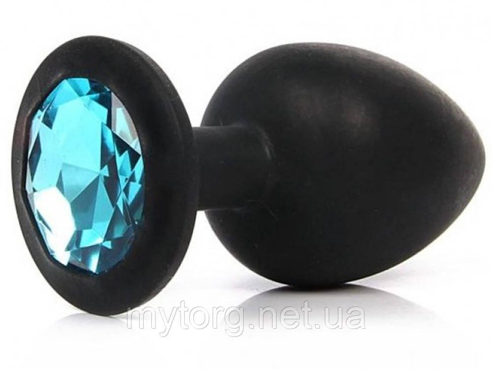 Черная силиконовая анальная  пробка с кристаллом 4 см х 9,5 см Голубой