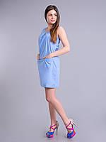 Платье - футляр голубое женское летнеее, хлопок, 44-50 р-ры