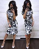 Платье женское стильное миди красивый принт с поясом Smmk3348, фото 1