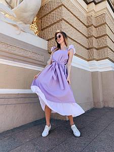 Летнее льняное платье миди, свободного кроя с рюшами / 4 цвета арт 9097-599