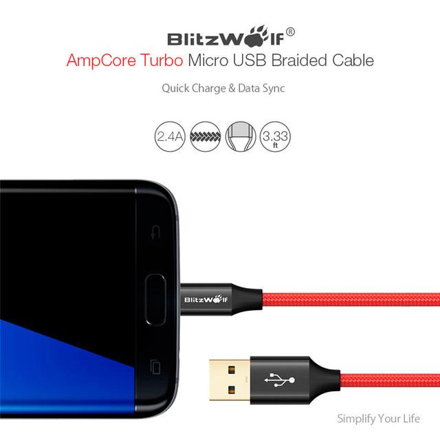 Изображение подключения плетеного кабеля Blitzwolf BW-MC7 к мобильному телефону
