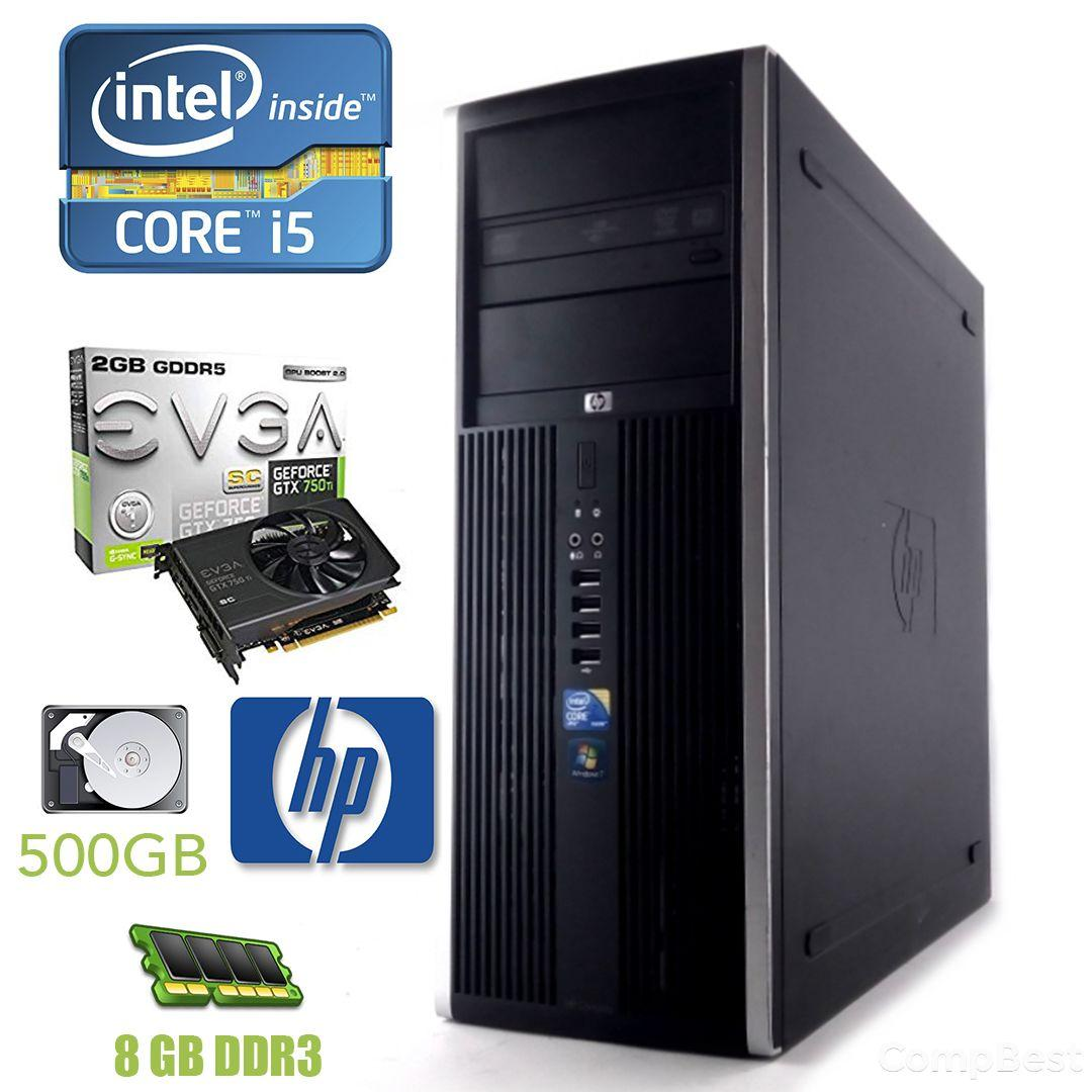 HP Compaq 8200 Tower / Intel Core i5-2400 (4 ядра по 3.1 - 3.4 GHz) / 8 GB DDR3 / 500 GB HDD / nVidia GeForce GTX 750 Ti 2GB