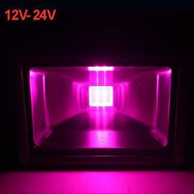 Светодиодный фито прожектор 30W 12-24VDC IP65 (full spectrum led) Код.59572