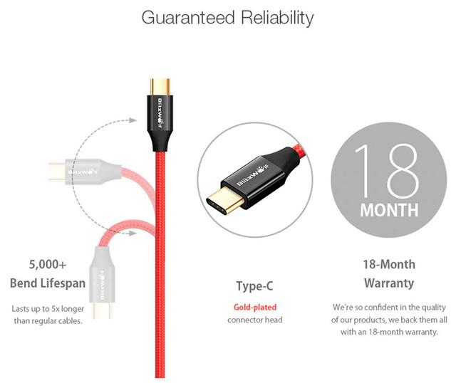 Изображение гарантий работоспособности кабеля Blitzwolf BW-TC9.