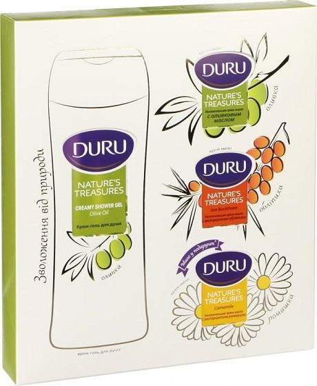 Подарочный набор Duru nature's Treasures: гель Оливка 250 мл + мыло Оливка 90 г + мыло 90 г Облепиха + мыло Ромашка 90 г в подарок