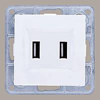 Розетка USB двойная белая