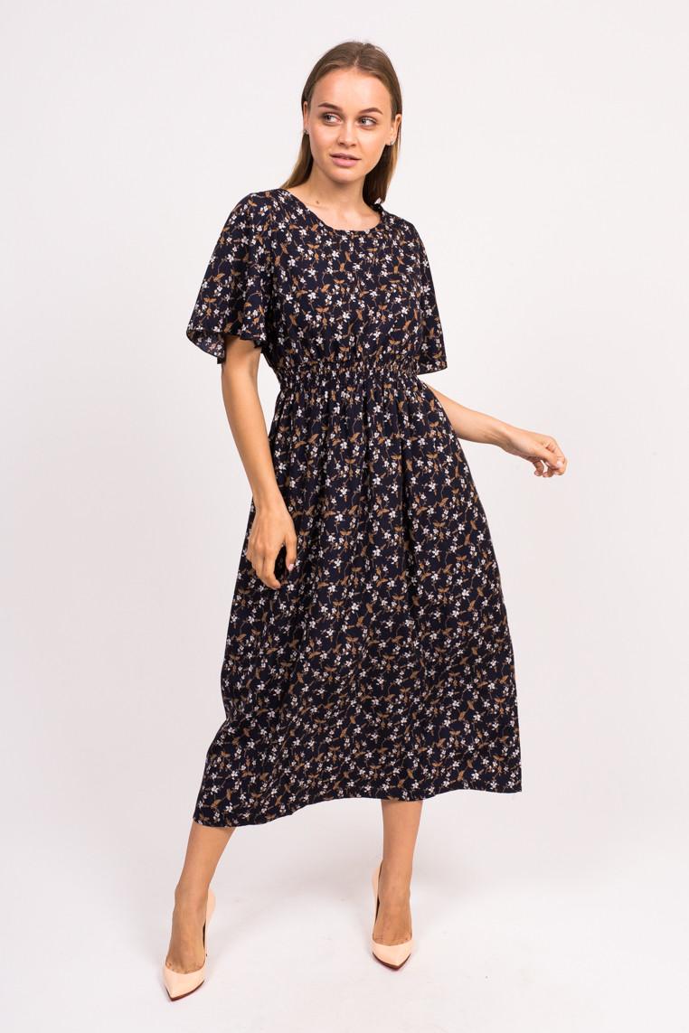 Длинное цветочное платье LUREX - темно-синий цвет, L (есть размеры)