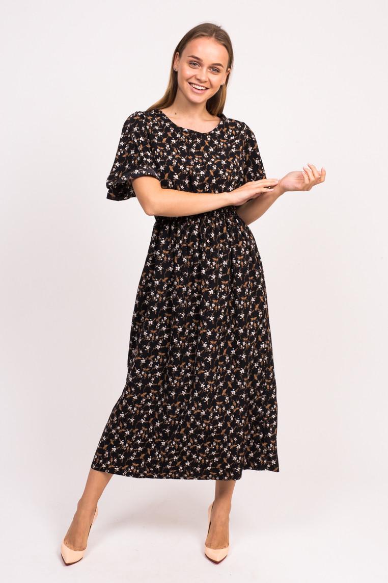 Длинное цветочное платье LUREX - черный цвет, L (есть размеры)