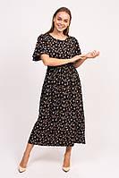 Длинное цветочное платье LUREX - черный цвет, L (есть размеры), фото 1