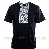 Трикотажна вишиванка чорна з сірою вишивкою, фото 1