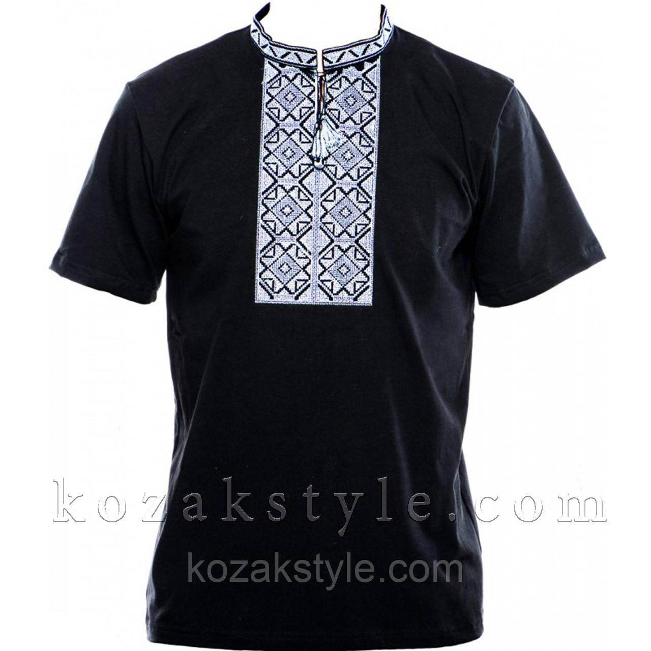 Трикотажна вишиванка чорна з сірою вишивкою  продажа e29949ee73dc3