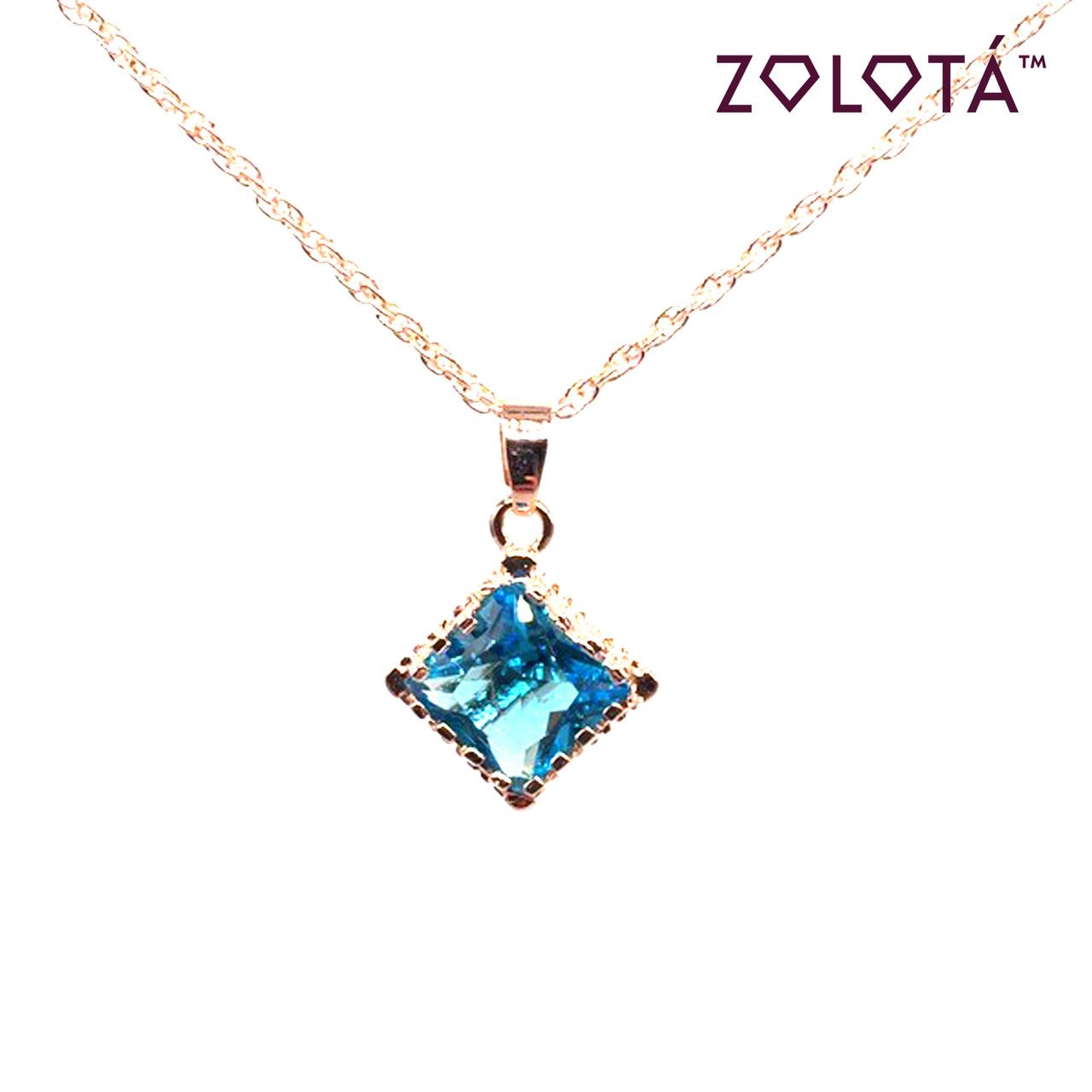 Подвеска на цепочке с голубым фианитом (куб. цирконием), из медицинского золота, в позолоте, ЗЛ00226 (1)