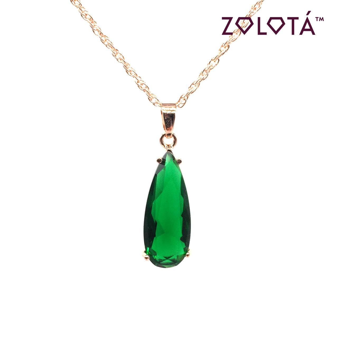 Подвеска на цепочке с зеленым фианитом (куб. цирконием), из медицинского золота, в позолоте, ЗЛ00206 (1)