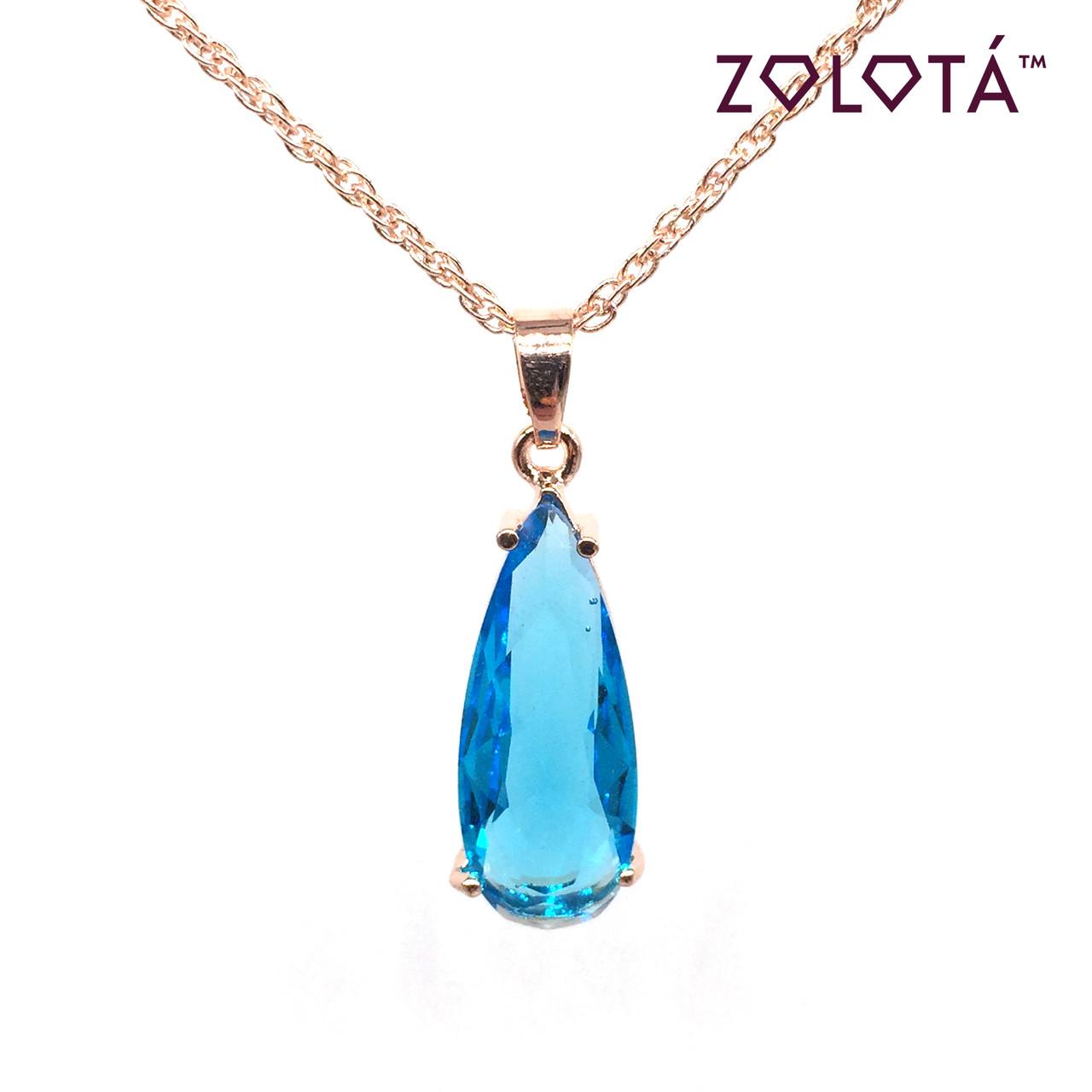 Подвеска на цепочке с голубым фианитом (куб. цирконием), из медицинского золота, в позолоте, ЗЛ00207 (1)