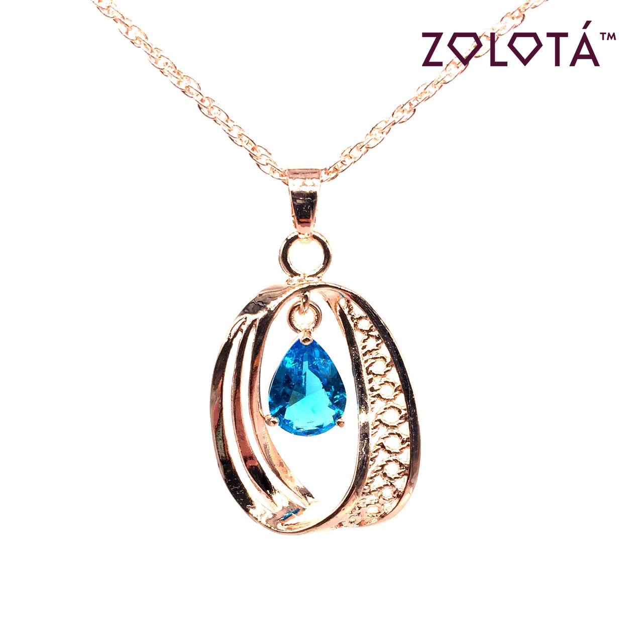 Подвеска на цепочке с голубым фианитом (куб. цирконием), из медицинского золота, в позолоте, ЗЛ00232 (1)