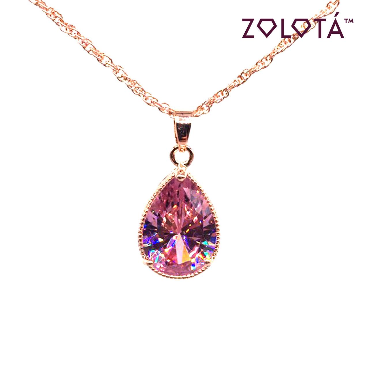 Підвіска на ланцюжку з рожевим фианитом (куб. цирконієм), з медичного золота, в позолоті, ЗЛ00241 (1)