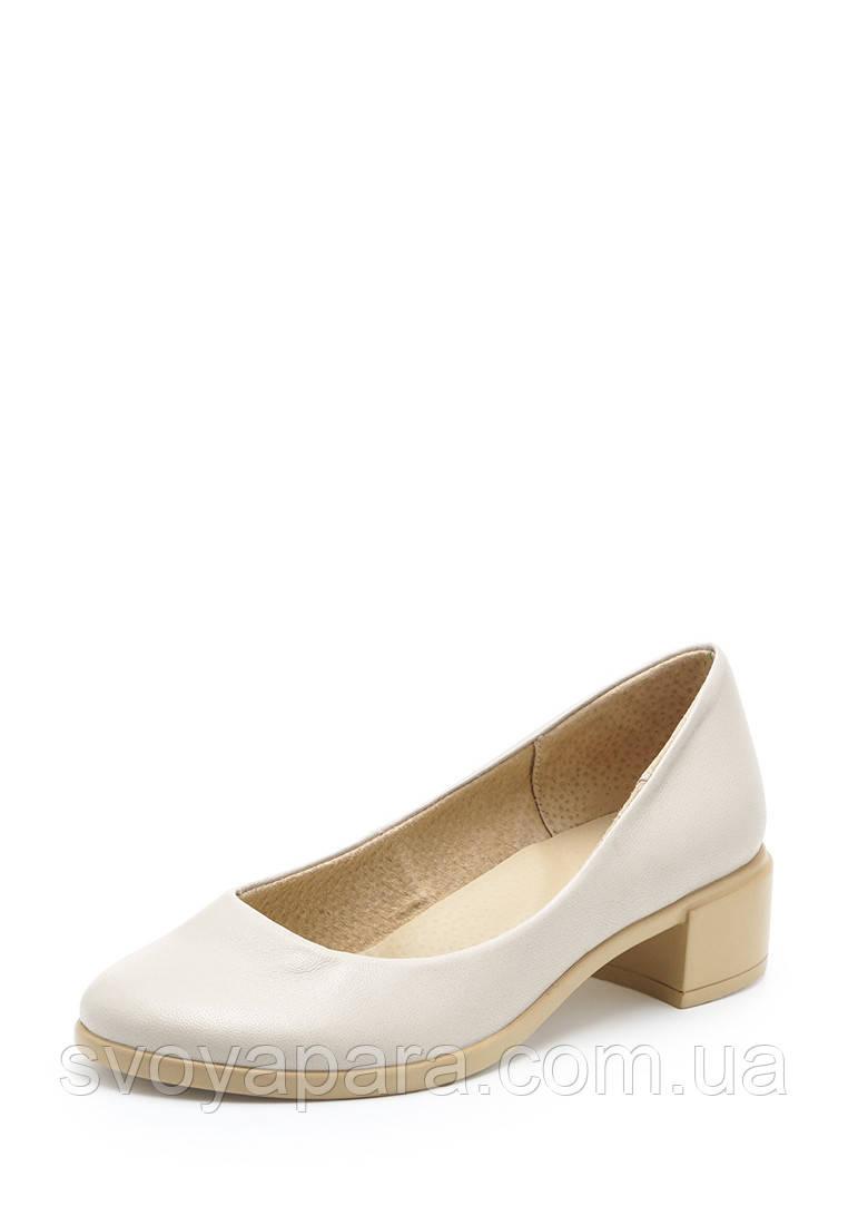 Туфли женские бежевые кожаные на устойчивом каблуке (10209)