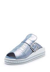 Сабо женские серебряно-голубого цвета кожаные (0275)