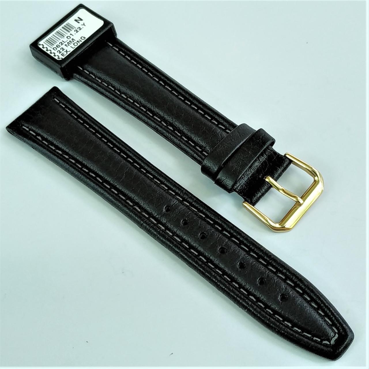 22 мм Кожаный Ремешок для часов CONDOR 062L.22.01 Черный Ремешок на часы из Натуральной кожи удлиненный