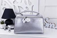 Женская сумка-клатч цвета серебро, эко-кожа
