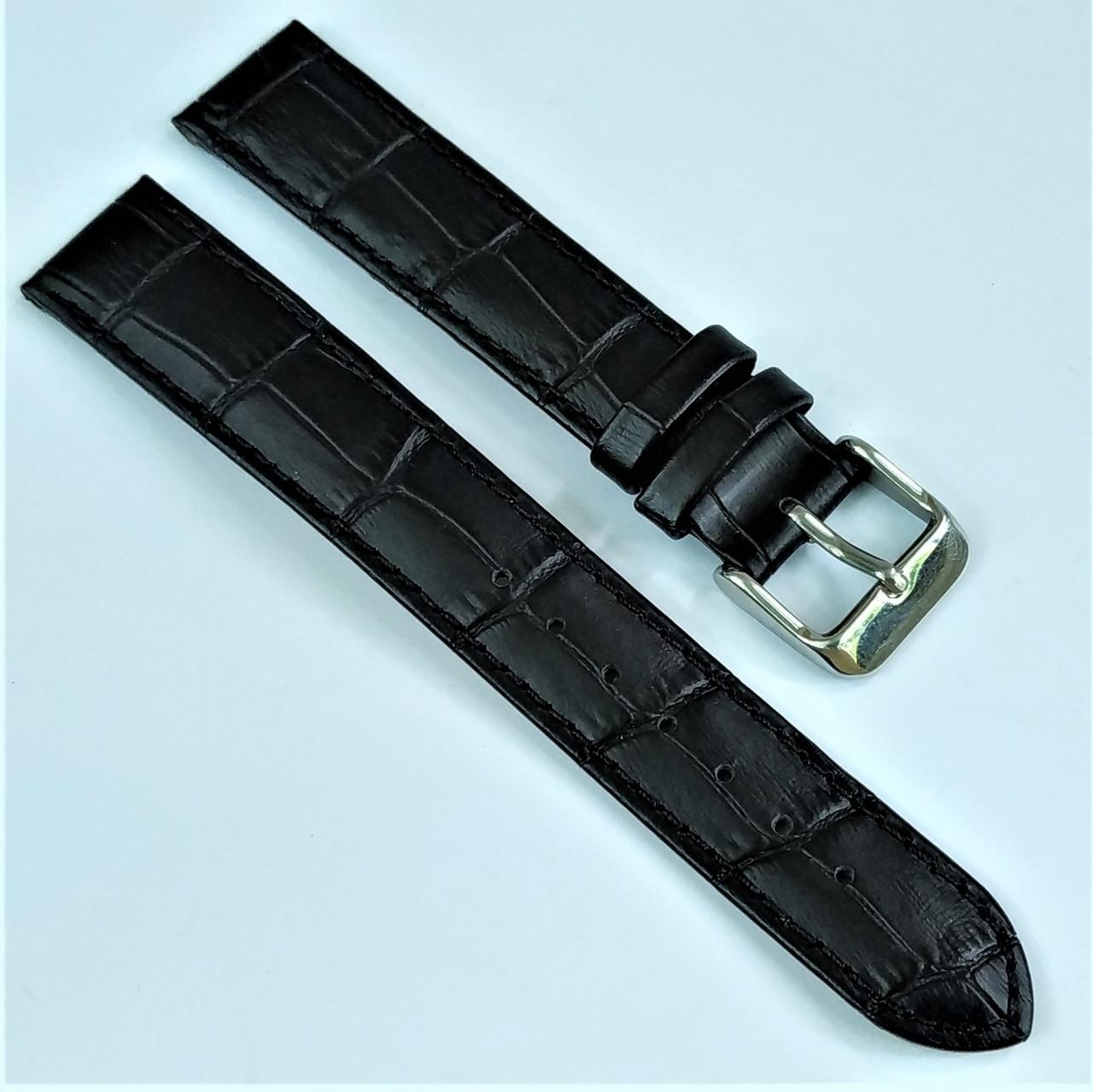 18 мм Кожаный Ремешок для часов CONDOR 305L.18.01 Черный Ремешок на часы из Натуральной кожи удлиненный