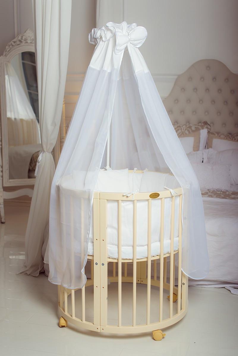 Круглая кроватка / Овальная кроватка 9 в 1 слоновая кость Pite