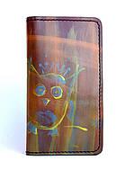 Кожаный кошелек ручной работы Sova с ручной росписью Tsar.store в коричневом цвете