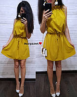 Однотонное летнее платье из софта без рукавов, фото 1